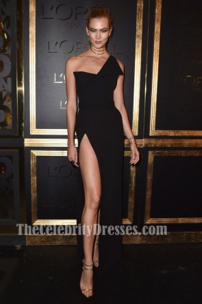 Karlie Kloss Black One Shoulder High Split Evening Gown Gold Obsession Party Dress TCD6828