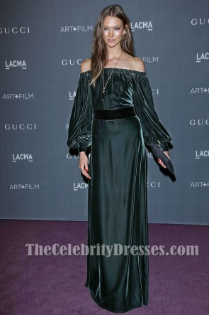 Karlie Kloss Dark Green Off-the-Shoulder Evening Dress LACMA Art and Film Gala TCD6883