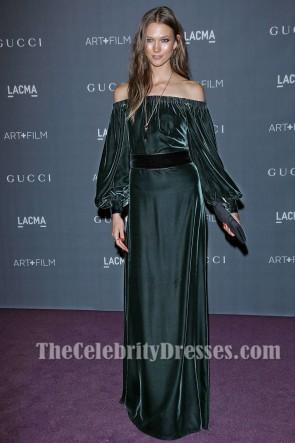 Karlie Kloss Dark Green Off-the-Shoulder Evening Dress LACMA Art and Film Gala TCD6883