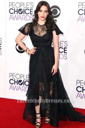 Kat Dennings Black Evening Prom Dress People's Choice Awards 2015 TCD6170
