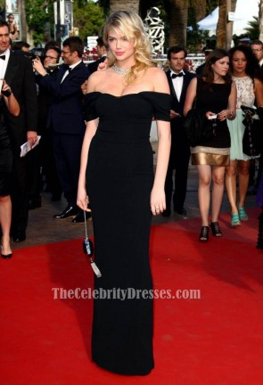 Kate Upton Black Off-the-Shoulder Formal Dress 65th Annual Cannes Film Festival TCD6128