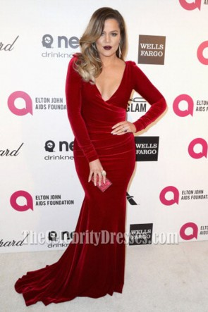 Khloé Kardashian Burgundy Velvet Evening Dress Elton John's Oscars party