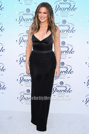 Khloe Kardashian Black Evening Dress HPNOTIQ Sparkle Launch TCD6330