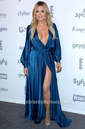 Khloe Kardashian Deep V-Neck Evening Dress 2015 NBCUniversal Cable Entertainment TCD6162