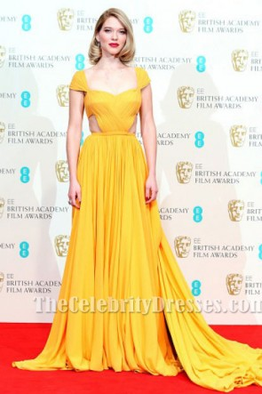 Léa Seydoux Yellow Cap Sleeve Evening Dress 2015 BAFTAs Red Carpet TCD6401