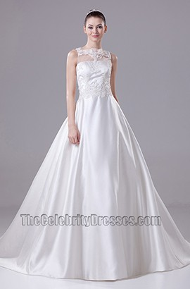Lace Taffeta A-Line Chapel Train Wedding Dresses