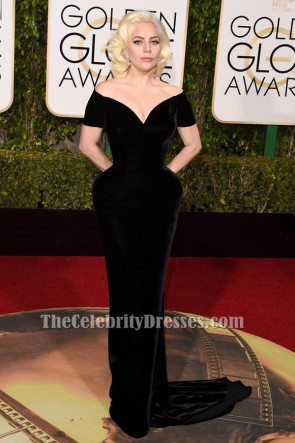 Lady Gaga Black Velvet Formal Dress golden globes 2016 Red Carpet Gown TCD6496