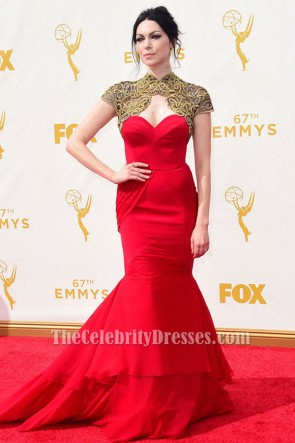 Laura Prepon Red Mermaid Strapless Formal Dress emmy 2015 Red Carpet TCD6343