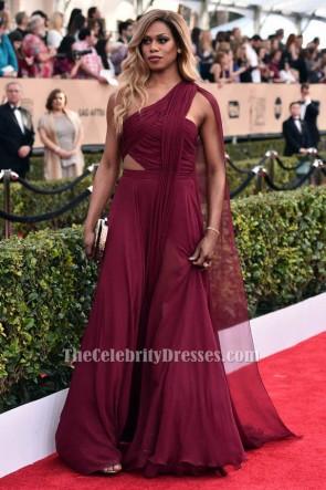 Laverne Cox 2016 SAG Awards Burgundy Evening Dress TCD6568