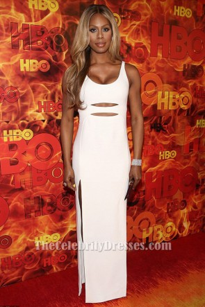 Laverne Cox White Cut Out Evening Dress HBO's Official 2015 Emmy After Party TCD6319