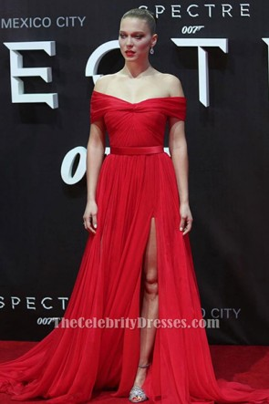 Lea Seydoux Red Off-the-Shoulder Evening Dress 'Spectre' Mexico City Premiere TCD6384