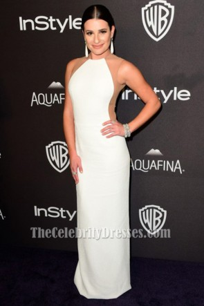 Lea Michele White Evening Gown 73rd Annual Golden Globe Awards Post-Party Dresses TCD6507