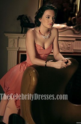 Leighton Meester Pink Strapless Prom Party Dress In Gossip Girl