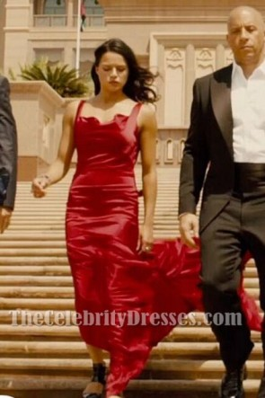 Letty Sexy Red Satin Backless Evening Dress For Sale In 'Fast & Furious 7