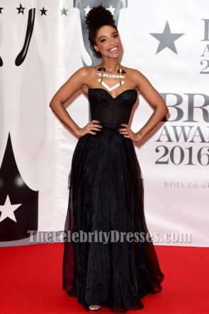 Lianne La Havas Black Evening Prom Gown Brit Awards 2016 Red Carpet Dresses TCD6862