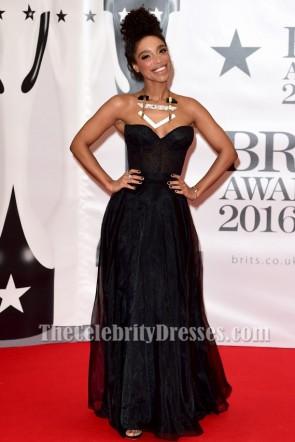 Lianne La Havas Black Evening Prom Gown Brit Awards 2016 Red Carpet Dresses TCD6862