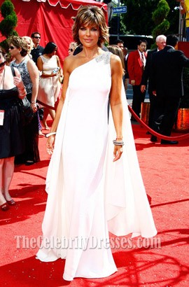Lisa Rinna White One Shoulder Prom Dress 2008 Primetime Emmy Awards Red Carpet