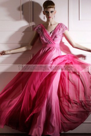 Long Hot Pink V-neck A-Line Formal Dress Evening Gown