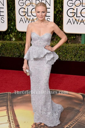 Malin Akerman Silver Lace Evening Dress 2016 Golden Globes Red Carpet Gown TCD6503