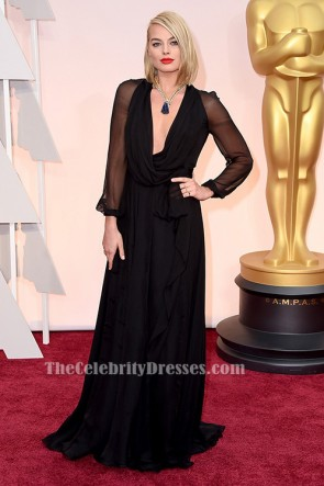 Margot Robbie Black Long Sleeve Evening Dress 2015 Oscar Awards Red Carpet Gown TCD6478