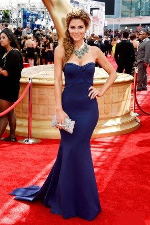 Maria Menounos Navy Mermaid Strapless Formal Dress 2013 Emmys Red Carpet TCD6809