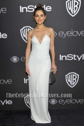 Maria Menounos Sexy White Evening Dress 73rd Annual Golden Globe Awards Post-Party TCD7104
