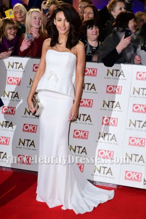 Michelle Keegan White Peplums Evening Dress 2017 National Television Awards TCD7225