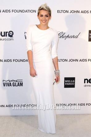 Miley Cyrus Backless White Evening Dress Elton John's Oscar Party