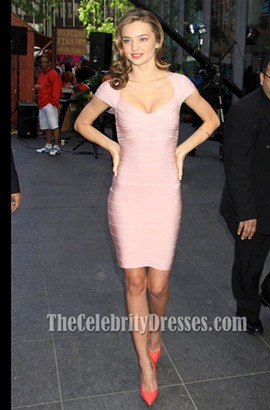 Miranda Kerr Pink Cap Sleeve Bandage Party Cocktail Dresses