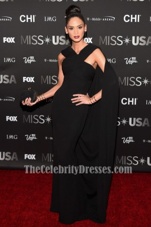 Miss Universe 2015 Pia Wurtzbach 2016 Miss USA pageant Gown Black Evening Dress TCD7089