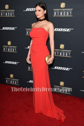 Miss Universe 2015 Pia Wurtzbach Orange Red Strapless Formal Evening Dresses