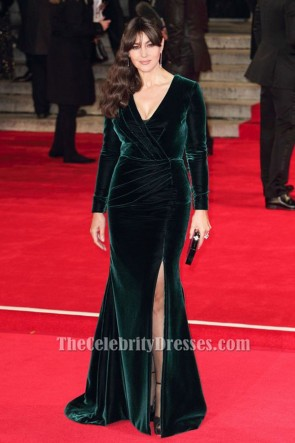 Monica Bellucci Dark Green Long Sleeve Evening Dress 'Spectre' London Premiere TCD6369