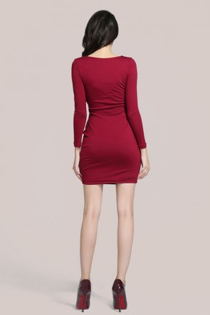 Deep Red Long Sleeve Cut Out Mini Party Dress TCDMU0020