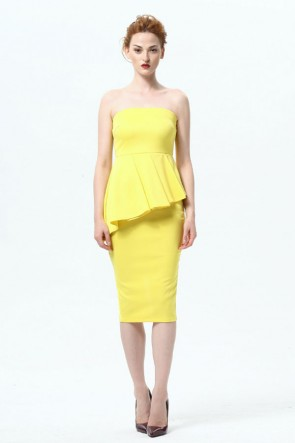 Knee Length Strapless Cocktail Party Dresses TCDMU0022
