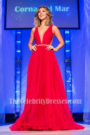 Nadia Mejia Red Backless Evening Dress Miss California USA 2016 Pageant Gown