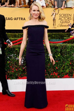 Naomi Watts Dark Navy Off-Shoulder Formal Evening Dress 2015 Screen Actors Guild Awards TCD6123