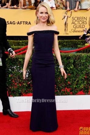 Naomi Watts Dark Navy Off-Shoulder Formal Evening Dress 2015 Screen Actors Guild Awards TCD6123