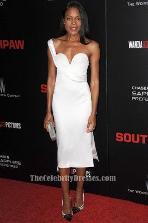 Naomie Harris White One Shoulder Cocktail Dress 'Southpaw' New York Premiere