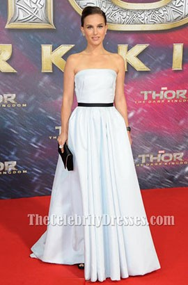 Natalie Portman White Prom Dress Germany premiere of 'Thor The Dark World'