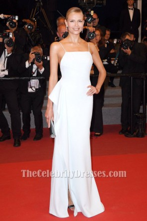Natasha Poly White Evening Gown Fade Premiere 70th Annual Cannes Film Festival TCD7261