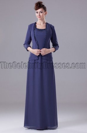 Navy Blue Chiffon Formal Mother of the Bride Dresses