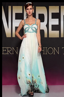 New Style Beaded Print Prom Dress Evening Formal Gown