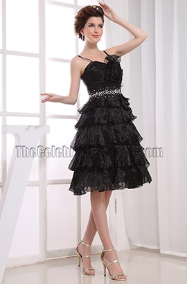 Beaded A-Line Black Graduation Cocktail Dresses