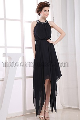 Discount Black Halter High Low Prom Gown Evening Dresses