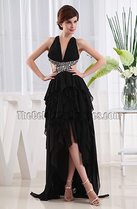 Black Backless High Low Prom Dress Evening Gown
