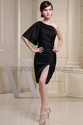 Chic Black One Shoulder Cocktail Dress Little Black Party Dresses