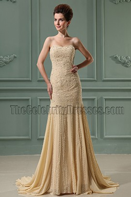 Elegant Strapless Mermaid Beaded Prom Dress Formal Dresses