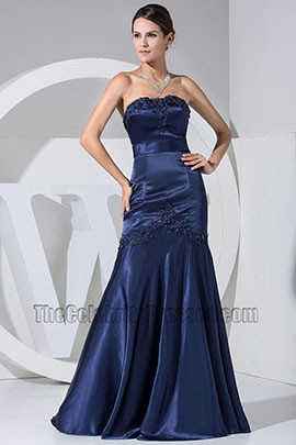 New Style Dark Navy Embroidery Mermaid Formal Dress Bridesmaid Dresses
