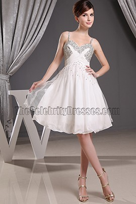 Beaded Short White Chiffon Party Dress Cocktail Homecoming Dresses