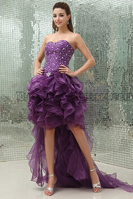 Purple Beaded High Low Strapless Prom Gown Evening Dresses
